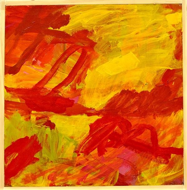 Kim Barter Moving Thru acylic paint on board 42.5cm H x 42cm W 2017