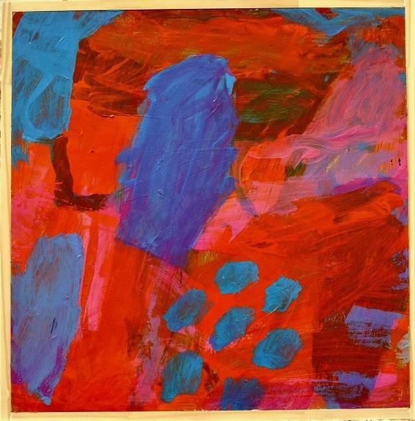 Kim Barter Red Ochre acrylic paint on board 42cm H x 42.5cm W 2017