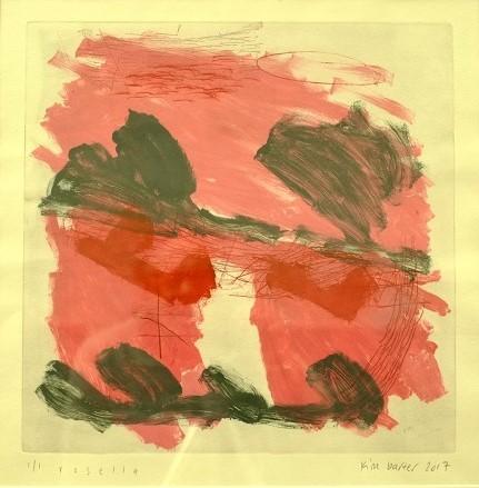 Kim Barter Rosella monoprint etching 63.5cm h x 62cm W 2017