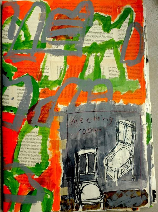 Kim barter Kimberley Scrapbook printed painted paper assemblage 64cm h x 45cm W 2017